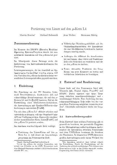 Zusammenfassung 1 Einleitung 2 Entwurf Und Realisierung