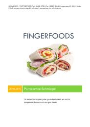 FINGERFOODS - Schmieger - Partyservice
