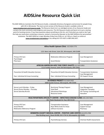 AIDSLine Resource Quick List - Minnesota AIDS Project