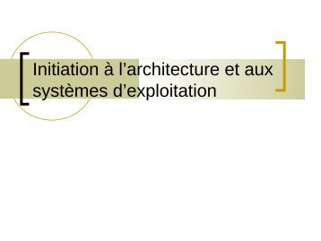 Cours d'Architecture - LISIC