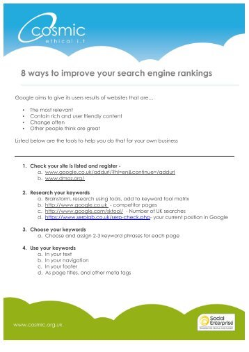8 ways to improve your search engine rankings