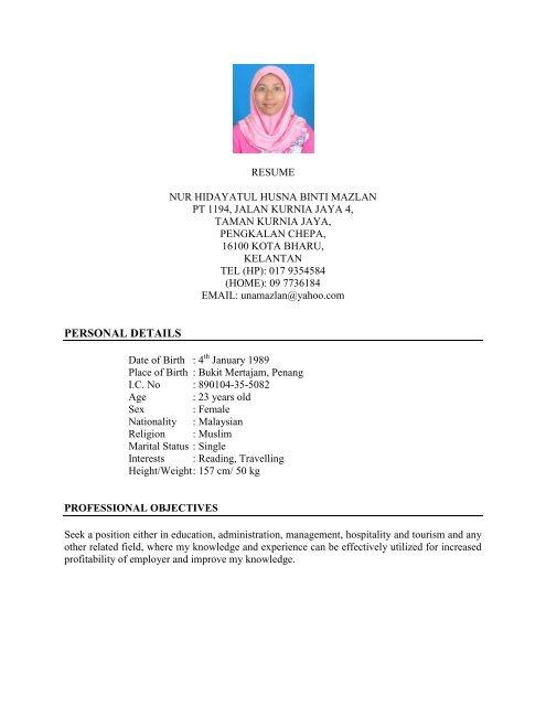 Cv Vs Resume Malaysia.Cv Universiti Pertahanan Nasional Malaysia Upnm