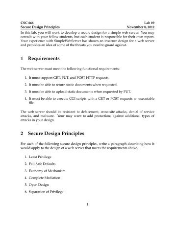 1 Requirements 2 Secure Design Principles