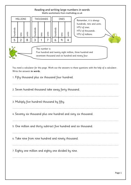 Reading and writing large numbers in words 1. Fifty ... - Maths Blog