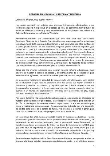 REFORMA EDUCACIONAL Y REFORMA TRIBUTARIA