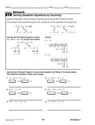 lesson 9-6 problem solving solving quadratic equations by factoring
