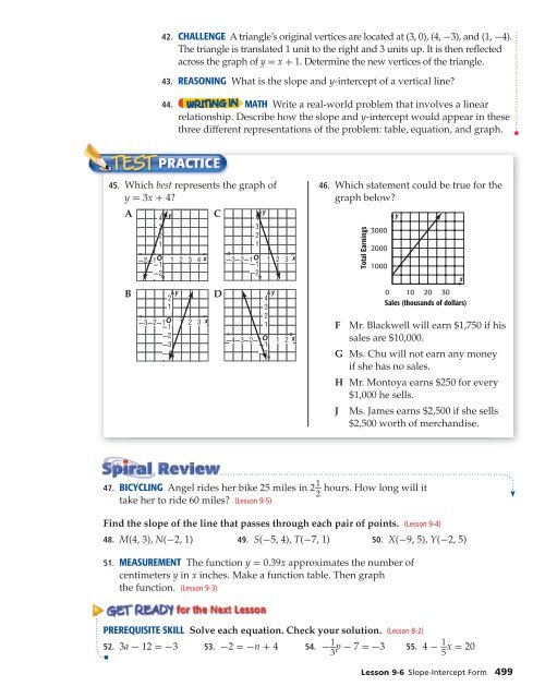 slope intercept form lesson  PRACTICE EXTRA PRACTICE S