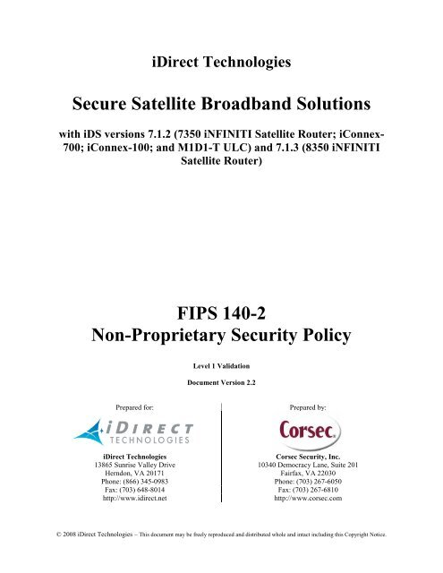 Secure Satellite Broadband Solutions FIPS 140-2 Non     - NIST