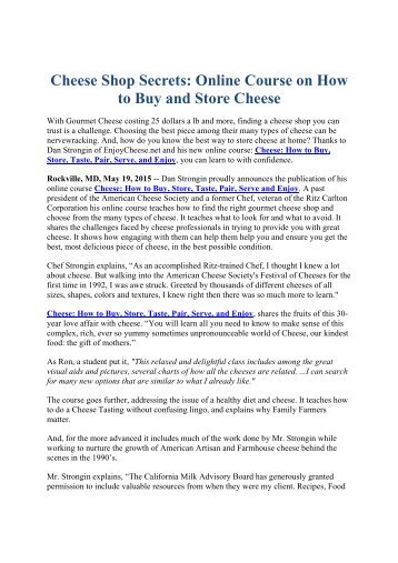 Cheese Shop Secrets: Online Course on How to Buy and Store Cheese