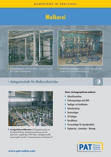 Molkerei Anlagentechnik für Molkereibetriebe