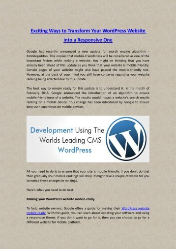 Exciting Ways to Transform Your WordPress Website into a Responsive One