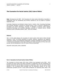 The Counselors for Social Justice (CSJ) Code of Ethics