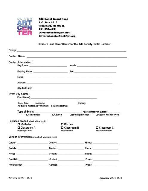 Facility Rental Agreement Oliver Art Center