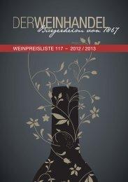 WeinPReisliste 117 – 2012 / 2013 - Der Weinhandel Bürgerheim