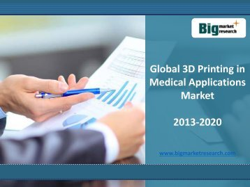 Research on 3D Printing in Medical Applications Market from all around the world 2013-2020