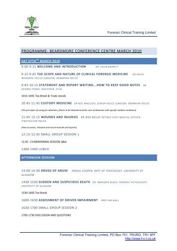 PROGRAMME- BEARDMORE CONFERENCE CENTRE ... - the FFLM