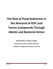 The Role of Pond Sediments in the Removal of DOC and Tannin ...