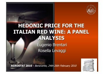 AGROSTAT 2010 - Benevento, 24th-26th February 2010