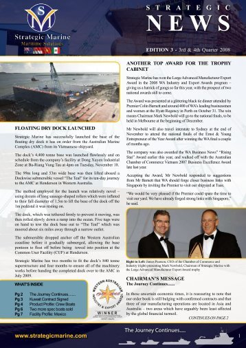 3rd & 4th Quarter 2008 - Newsletter Edition 3 - Strategic Marine