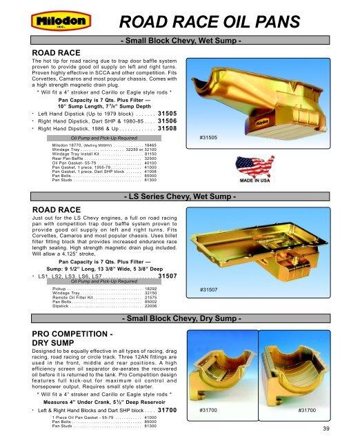 Milodon 31002 Oil Pan