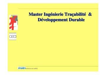Master Ingénierie Traçabilité & Développement durable, M. François ...