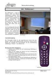 Netzwerkverwaltung Info - Medienraum 1