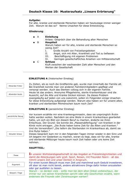 Deutsch Klasse 10 Musteraufsatz Lineare Erörterung