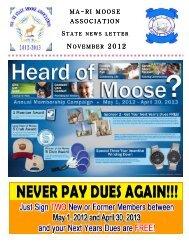 November news letter 2012 - Newenglandmoose.org