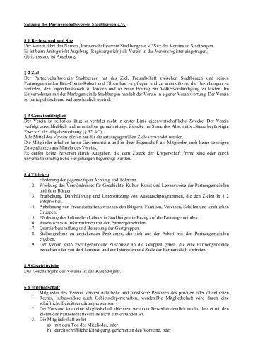 Satzung - Partnerschaftsverein Stadtbergen eV