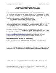 Bio 105 Unit 9 Step 2 Worksheets Last Modified 4/9/12 ...