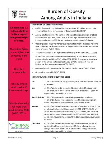 Burden of Obesity Among Adults in Indiana - Ball State University