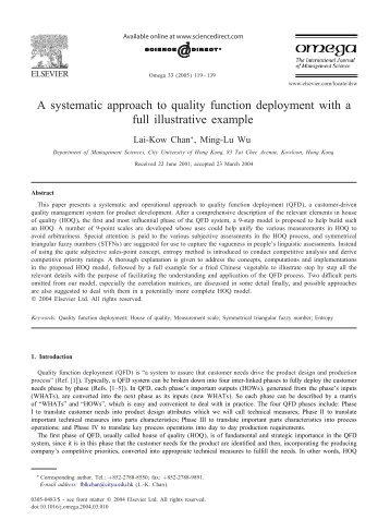 A systematic approach to quality function deployment with a full ...