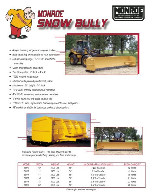 Monroe Truck Equipment >> Snow Bully Lit Monroe Truck Equipment