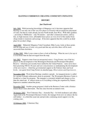 History of the community in Hastings - Vedic Architecture