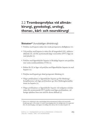 2.2 Trombosprofylax vid allmänkirurgi, gynekologi, urologi ... - SBU