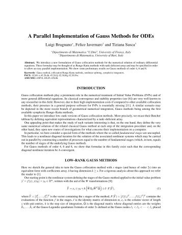 A Parallel Implementation of Gauss Methods for ODEs