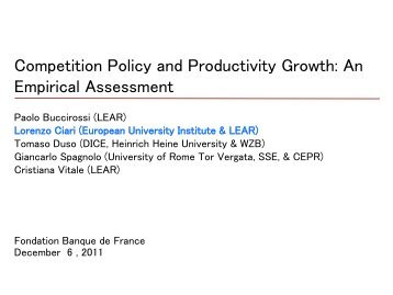 Competition Policy and Productivity Growth - Lear