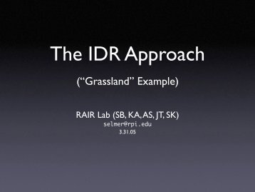 The IDR Approach