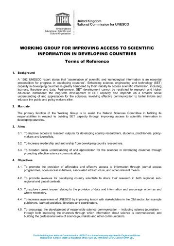WORKING GROUP FOR IMPROVING ACCESS TO SCIENTIFIC ...