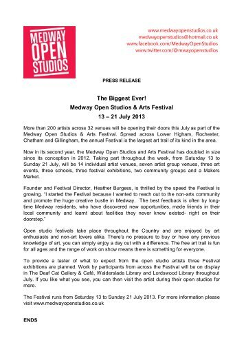 The Biggest Ever! Medway Open Studios & Arts Festival 13 – 21 July ...