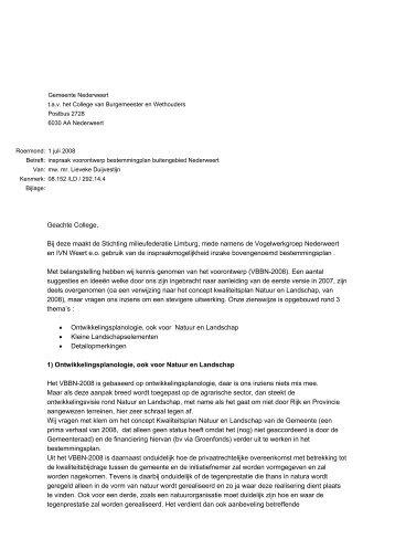 Zienswijze voorontwerp BP Buitengebied Nederweert