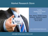 Market ReseaMarkets:Geothermal Power Turkey, Market Outlook to 2025, Update 2015rch Store