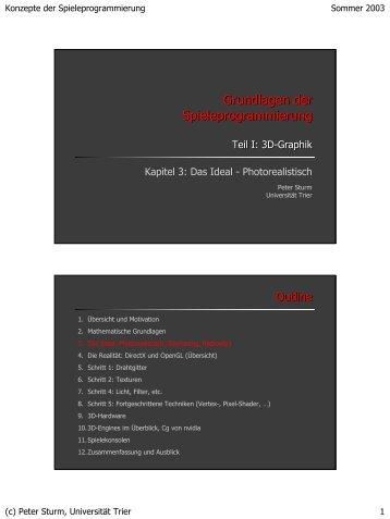 Grundlagen der Spieleprogrammierung ... - Universität Trier