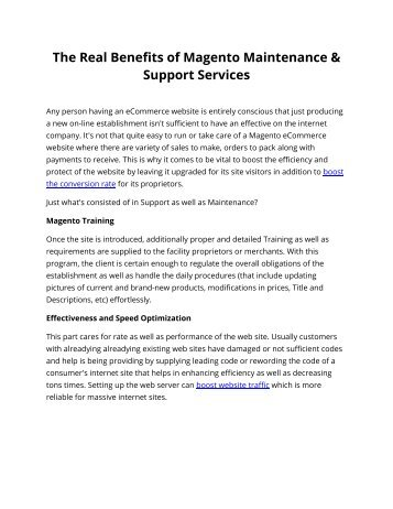 The Real Benefits of Magento Maintenance & Support Services