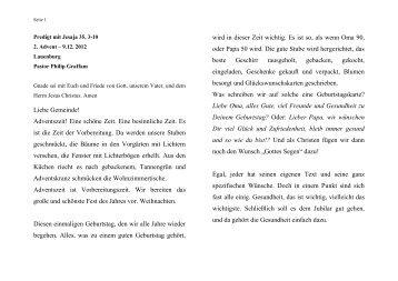 Predigt vom 09.12.2012 - ev. Kirche in Lauenburg