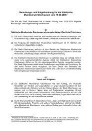Benutzungs- und Entgeltordnung für die ... - Stadt Oberhausen