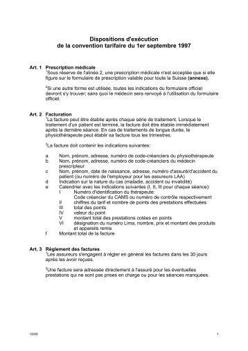 Dispositions d'exécution de la convention tarifaire du 1er septembre ...