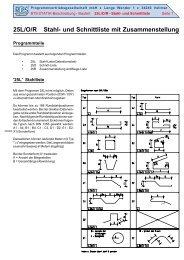 25L/O/R Stahl- und Schnittliste mit Zusammenstellung
