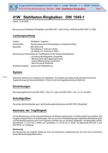 41W Stahlbeton-Ringbalken DIN 1045-1