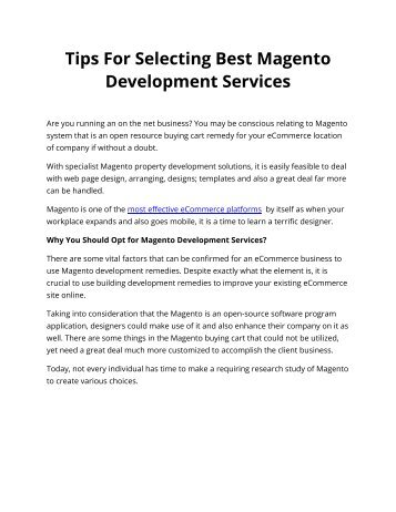 Tips For Selecting Best Magento Development Services